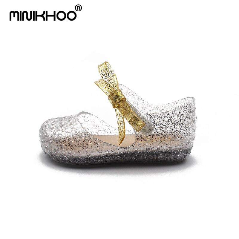 Mini Melissa LED Sandals Crystal Shoes Girl Jelly Sandals Children Sandals Baby Jelly Shoes Bowknot Girls Sandals Flash Lights
