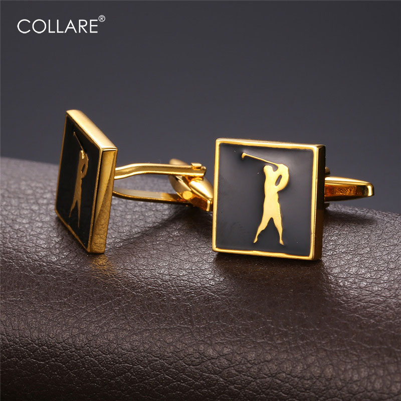 Collare Act of <font><b>Golf</b></font> <font><b>Cufflinks</b></font> For Mens Gold/Silver Color With Enamel <font><b>Cufflinks</b></font> Luxury Men Jewelry <font><b>Cufflink</b></font> High Quality C211 image