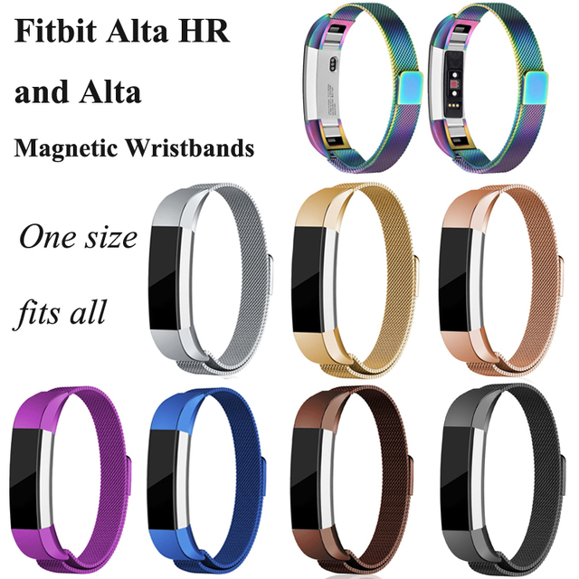US $6 99 |One Size Fitbit Alta HR & Alta Stainless Steel Wristband Bracelet  Strap Sport Wrist Support Strip Magnetic Milanese Loop Bands-in Wrist