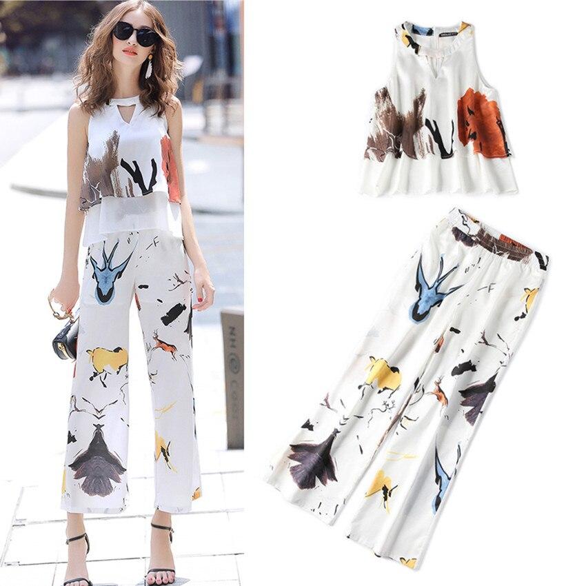 Summer 2 Pieces Set Women's Floral Graffit Print Patchwork Blouse + Straight Loose Pant Suit OL Ladies Party Tracksuit NS660