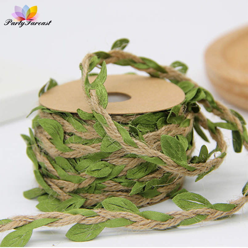 PF 1m Silk Green Leaves Multicolor Hemp Rope String Artificial Flower Rattan DIY Decoration Accessories for Home Wedding Crafts