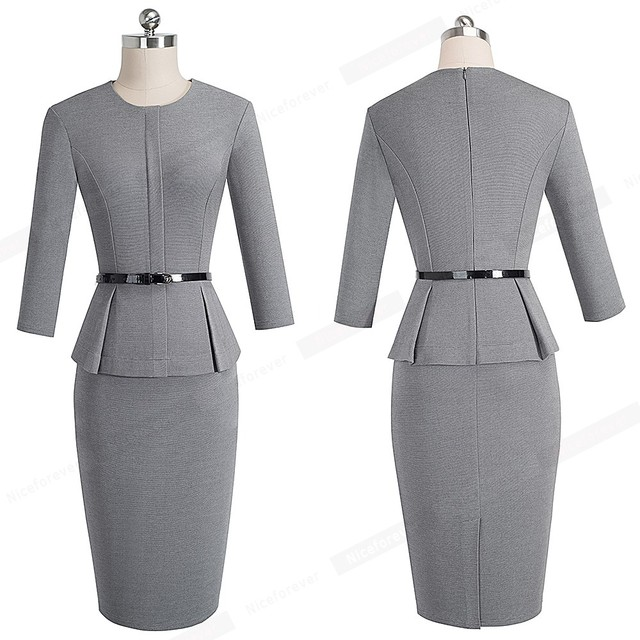 New Arrival Autumn Formal Peplum Office Lady Dress Elegant Sheath Bodycon Work Business Pencil Dress 3