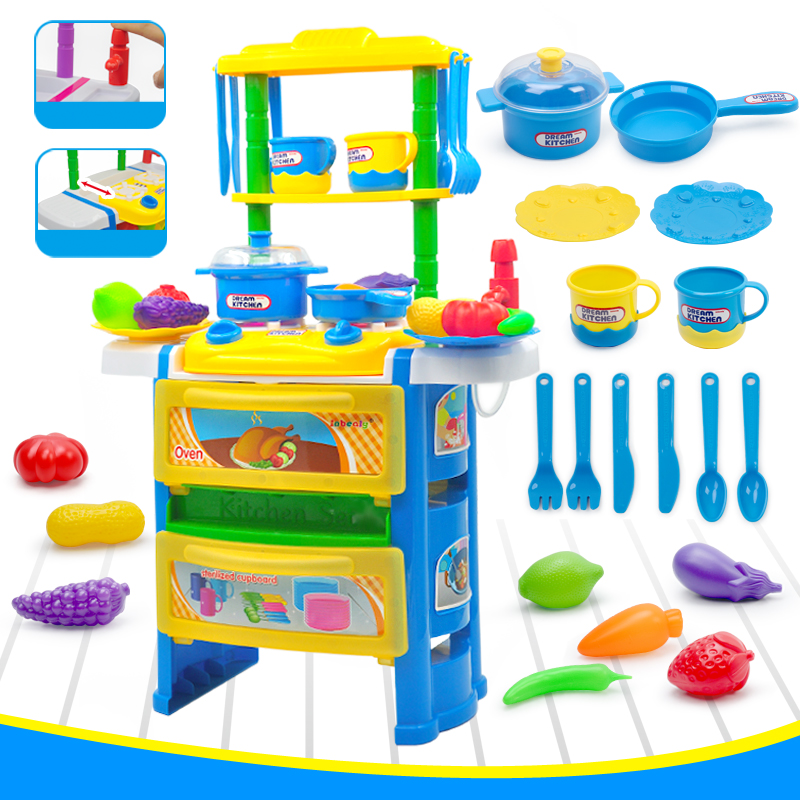 Children Kitchen Cooking Toy With Light Sound Large Simulation Table Model Utensils Toys 23pcs Pretend Play Educational Toy Kids