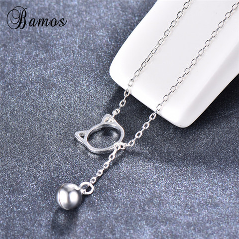 Bamos 100% 925 Sterling Silver Hollow Cat Bead Pendant Necklaces Simple Long Chain&Choker For Women Fashion Jewelry Lover Gifts Lahore
