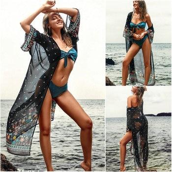 New Chiffon Beach Cover Up Women Plus Size Print Floral Bikini Cover Up Wrap Holiday Vestidos Mujer Cardigan 2019 Maxi Dress beach hawaii print cover up slip dress