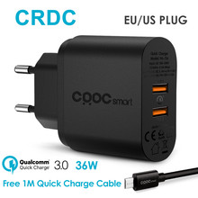 CRDC USB Charger Universal For Qualcomm 2 Port Quick Charge 3.0 Travel Phone Charger for iPhone 7 6 Xiaomi Samsung Galaxy S8 etc