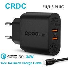 Crdc USB зарядное устройство универсальное для Qualcomm 2 порт Quick Charge 3.0 телефон зарядное устройство для iPhone 7 6 Xiaomi Samsung Galaxy S8 и т. д.