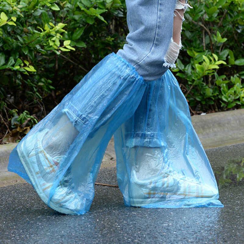 5 Pairs plastik tek kullanımlık yağmur ayakkabısı kılıfları yüksek kaliteli su geçirmez kalın yüksek üst kaymaz yağmur geçirmez ayakkabı kapakları