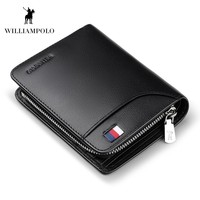 WILLIAMPOLO 2018 Genuine Leather Mens Wallet Cowhide Cover Coin Purse Small Brand Male Credit&ID Walets POLO298