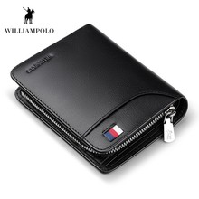 WILLIAMPOLO Genuine Leather Mens Wallet Cowhide Cover Coin Purse Small Brand Male Credit&ID Walets PL298 multifunction the new leather mens wallet man coin purse small brand male credit
