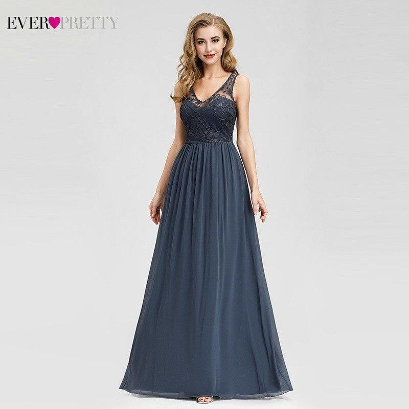 Ever Pretty Vintage Dusty Blue Bridesmaid Dresses A-Line V-Neck Elegant Lace Wedding Guest Dresses Robe Demoiselle D'honneur