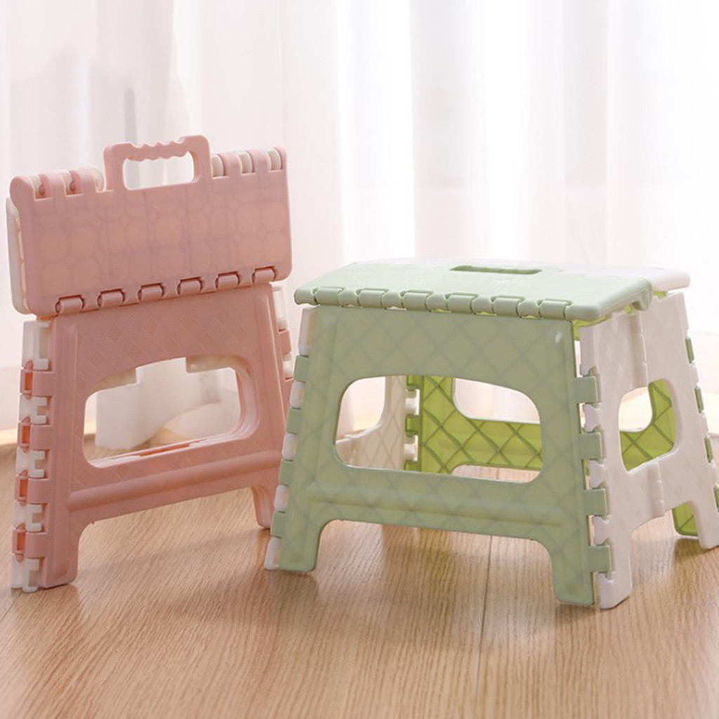 Portable Plastic Child Stool Folding Chair Bathroom Step Children Seat Footstool