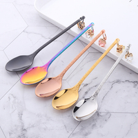 10PCS 18/10 Stainless Steel Creative Earring Spoon Court Style Coffee Spoon Exquisite Handle Shape Pudding Yogurt Mini Spoon HOT