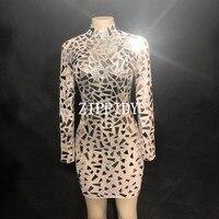 Модные прозрачные зеркала Сетчатое платье сексуальные блестки большие стрейч сценический костюм Одежда для танцев вечерние на день рожден