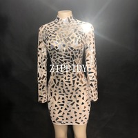 Fashion See Through Mirrors Mesh Dress Sexy Sequins Big Stretch Costume Stage Dance Wear Evening Birthday Celebrate Dress