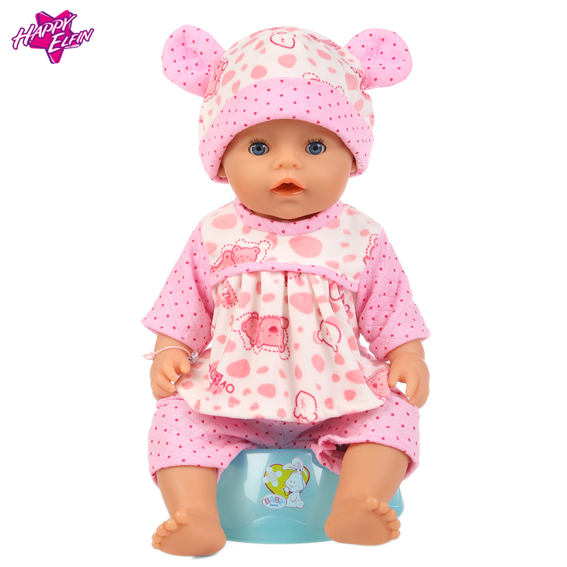 Baby-Born-Doll-Clothes-Fit-Zapf-Doll-Jumpsuit-Suit-with-cute-hat-Doll-Pajamas-sleeping-clothes-18inch-Children-Birthday-Gifts-3