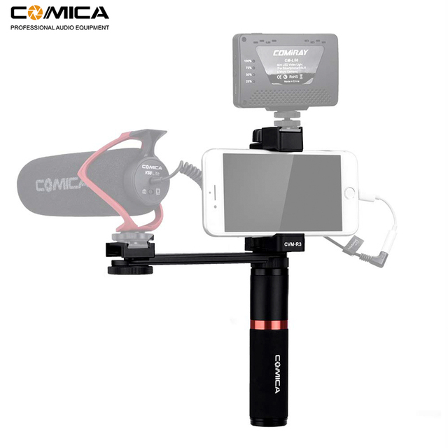 Comica CVM R3 смартфон видео Rig Рукоятка Ручка стабилизатор комплект для iPhone X 8 7 6s Plus для Samsung Huawei и т. Д.