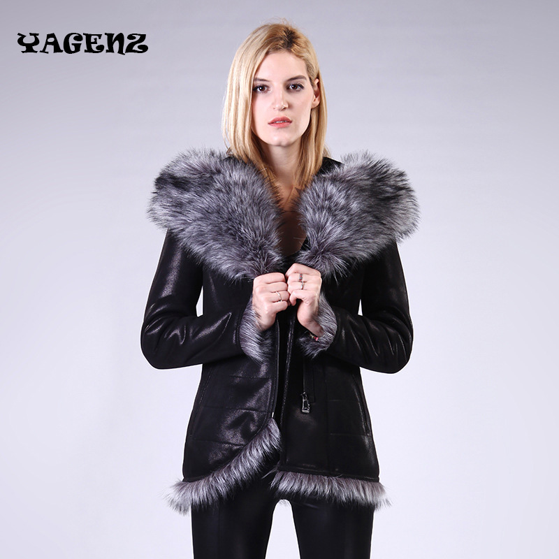 Ms Winter Faux   Leather   100% Factory Direct Supply New Fur Coat Women sheep fake Fur one Artificial fox hair Large size Female