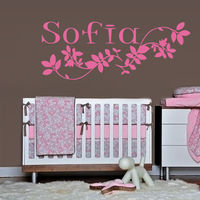 2016 New Wall Decal Sofia Name Inscription Word Baby Girl Petal Nursery Decoration Free Shipping