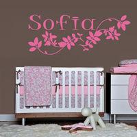 2016 New Wall Decal Sofia Name Inscription Word Baby Girl Petal Nursery Decoration Free Shipping