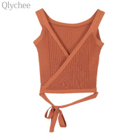 Qlychee Sexy Women Camis V Neck Bow Tie Knitted Crop Top Sleeveless Solid Color Slim Belt