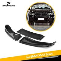 Front Bumper Lip Spoiler Chin Protector Apron for BMW X5 M SPORT 2014 2018 3PCS Carbon Fiber