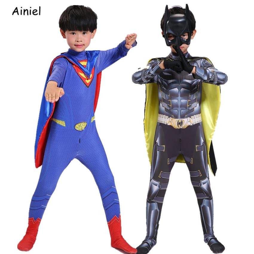 Justice League Superman Cosplay Costume Kids Adult Halloween Superhero Batman Clothes Jumpsuit Zentai Suit Boy  Mask Cape