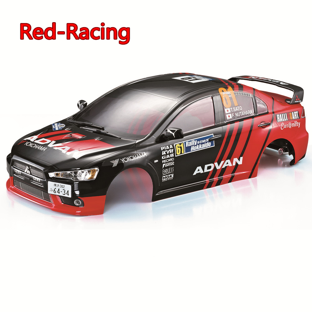 1//10 RC car 190mm on road rally drift Mitsubishi Body Shell w//spoilers Red