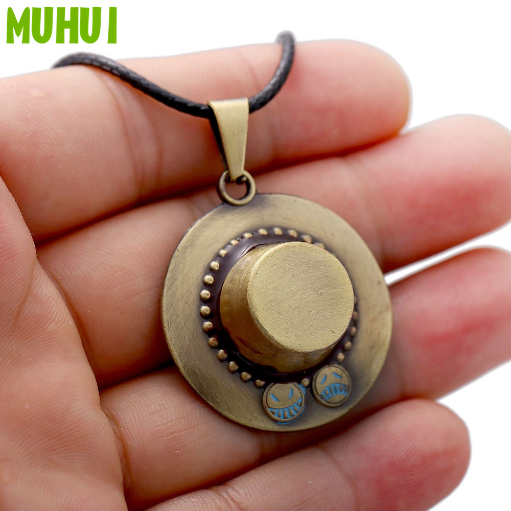 Anime One Piece Necklace Luffy's Brother Portgas D Ace Hat Pendant Game Cosplay Neckalces Wholesale 1276