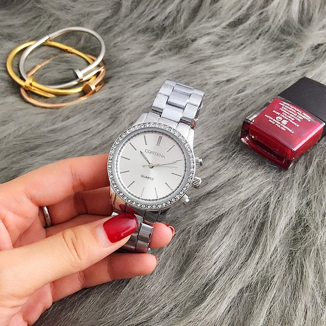 CONTENA Fashion Silver Watch Women Watches Luxury Rhinestone Women's Watches Stainless Steel Ladies Watch Female Clock Gift 1