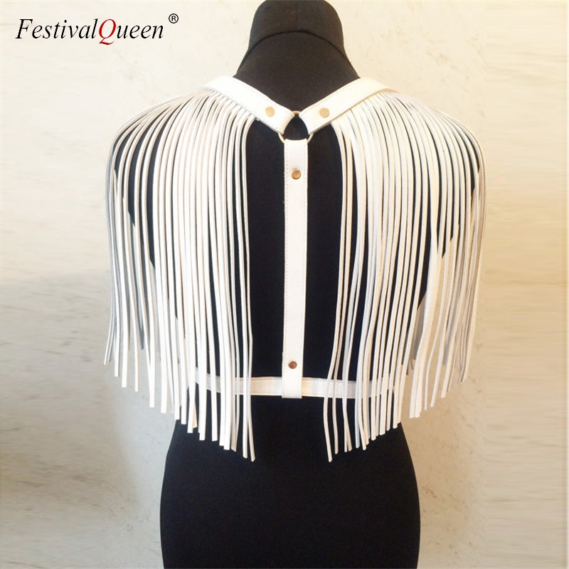 FestivalQueen Women Back PU Leather Tassel   Tank     Tops   2018 New Gothic Adjustable Body Harness Bondage Belt Crop   Top   Black White