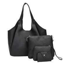 women's Multi-function Four Set Handbag Shoulder Tote bags Crossbody Wallet female  leather                             O0807#30