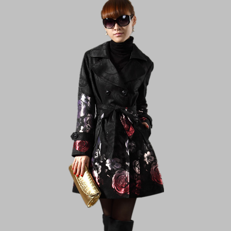 2020 Spring Autumn Women Floral Long Trench Coats Outerwear Plus Size Rose Jacquard Double Breasted Slim Windbreaker Female C254