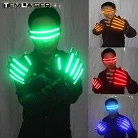 LED Glow Handschoenen Rave Gloren Finger Verlichting Glow Mittens Magic Black lichtgevende handschoenen feestartikelen halloween