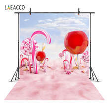 Laeacco Candy Bar Party Photographic Backdrops Baby Children Birthday Photography Backgrounds Lollipops Custom For Photo Studio