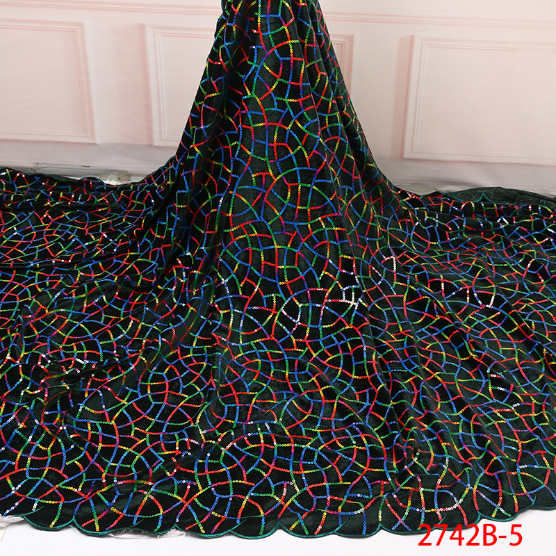 High Quality Velvet Lace Fabrics Nigerian Tulle Lace Fabric Latest African French Lace Embroidery Sequins Lace