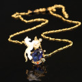 New Arrivals Enamel Glaze Dream The White Horse Unicorn Blue Crystal Necklace Electroplate 18K Gold