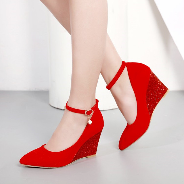 269120ac92f7 PXELENA Wedge High Heels Pumps Female Shoes Faux Suede Pointed Toe Bride  Wedding Shoes Women Black Red Bling 2018 Spring Newest