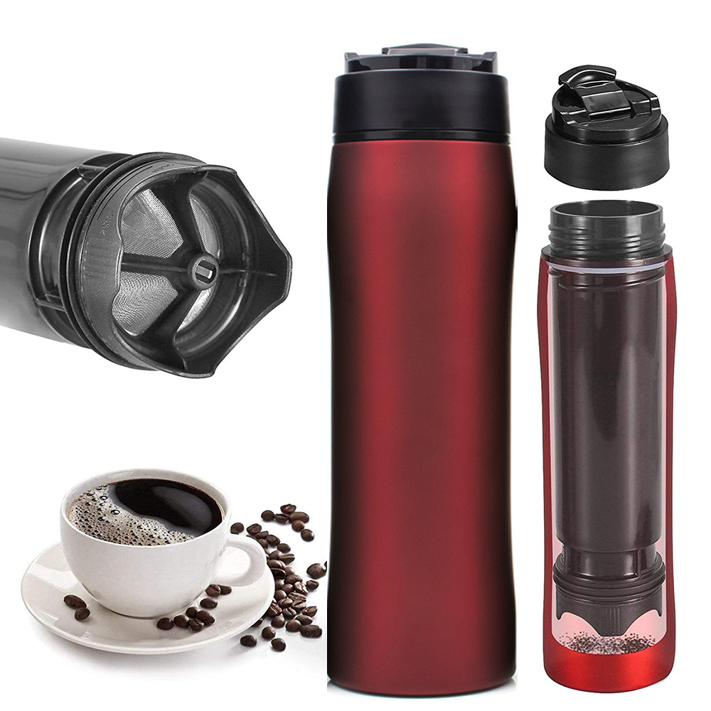 Coffee Maker French Press, 12 oz(350 ml) Portable Coffee Travel Mug, Coffee Press for Ground Coffee, Keeps Cold & Hot