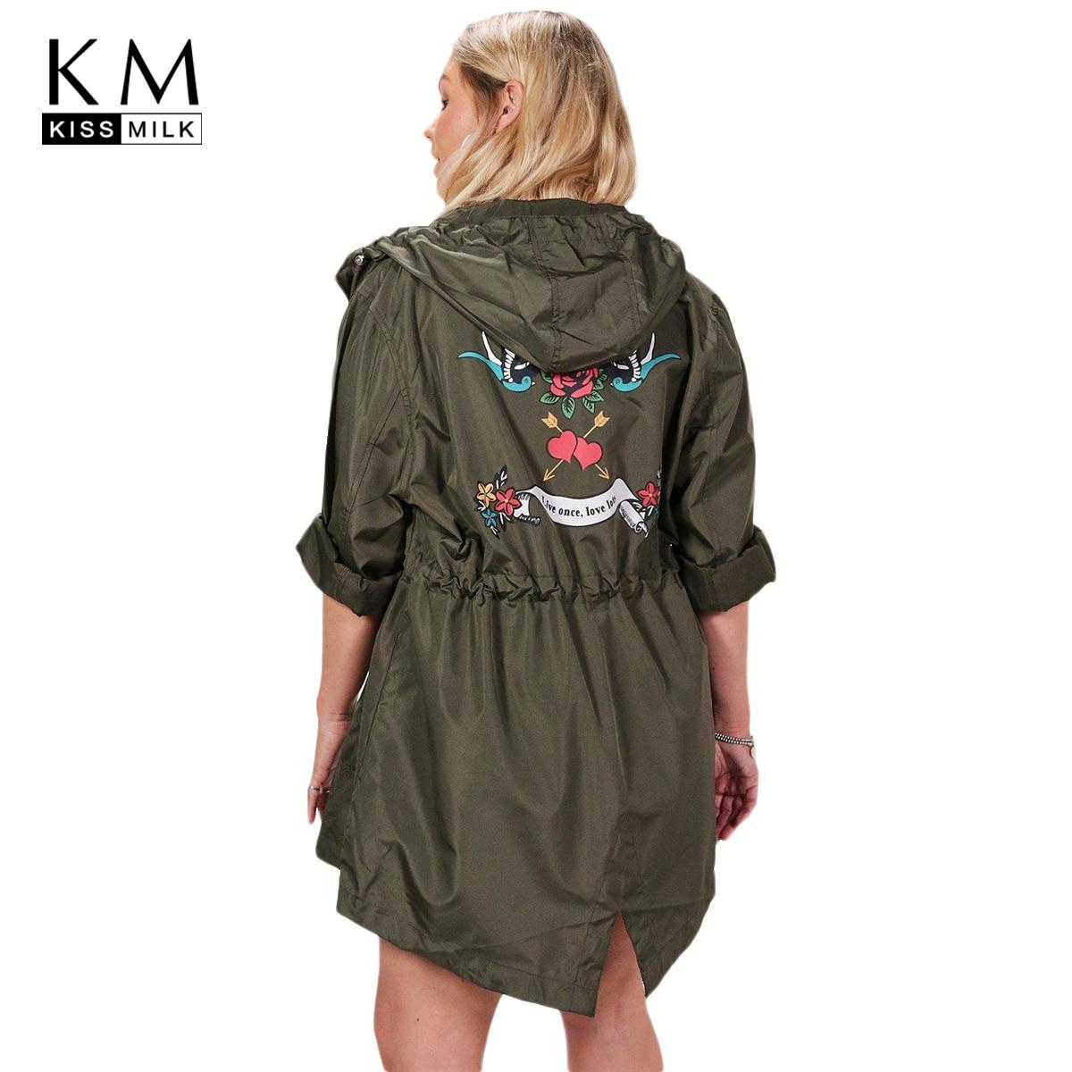 Kissmilk plus la taille solide femmes tranchée imprimé à manches longues à capuche zipper femme vêtements grande taille casual lady outwears 3XL-7XL