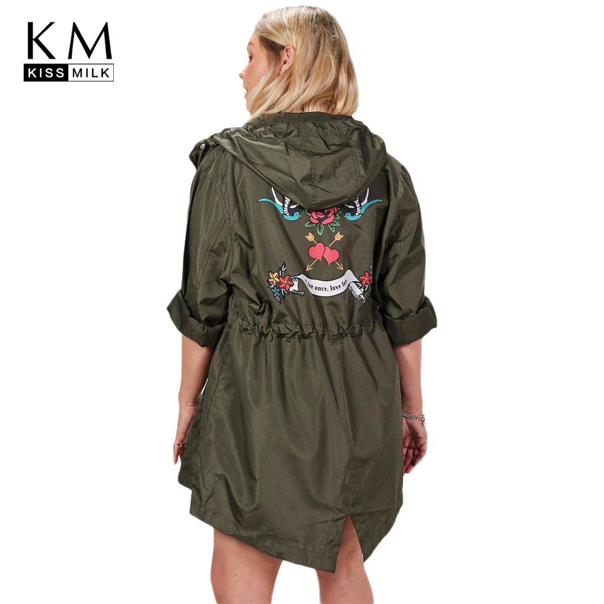 kissmilk plus size solid women trench printed long sleeve hooded zipper female clothing big size casual lady outwears 3XL-7XL