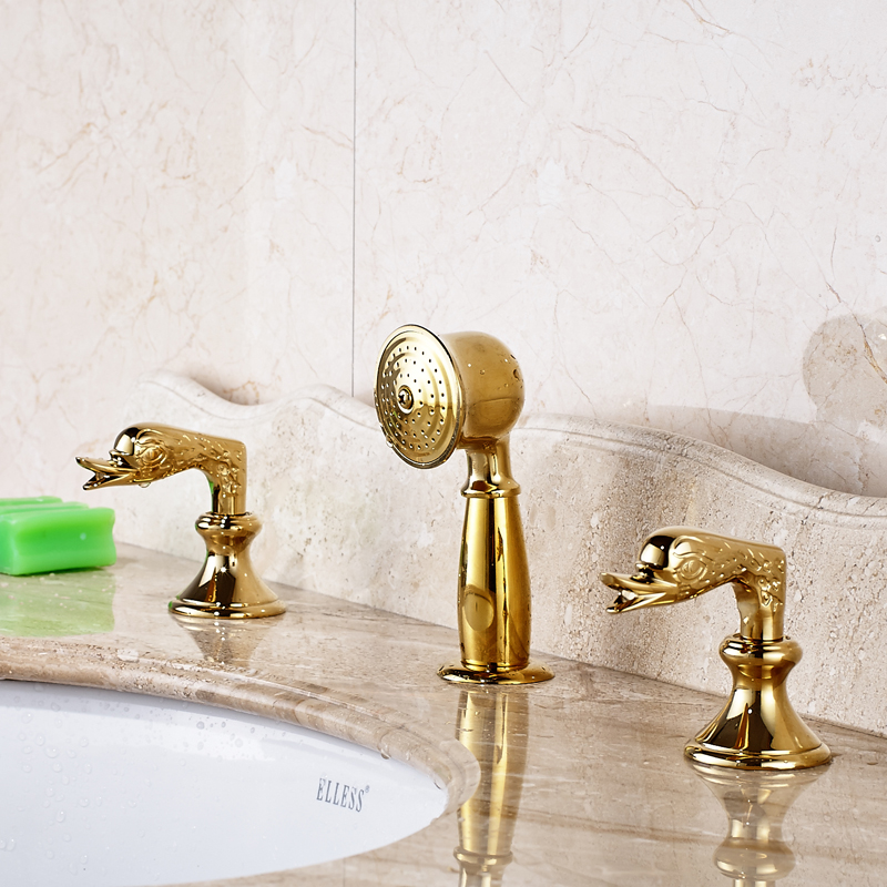 цена на Gold Polished Deck Mounted Widespread Bathroom Sink Faucet Pull Out Mixer Tap With Double Handle