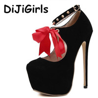 DiJiGirls New Women rivet Wedge High Heels Big Bow Tie Platform Pumps Ladies Sexy Fetish Party Prom Wedding Bowknot Shoes Woman