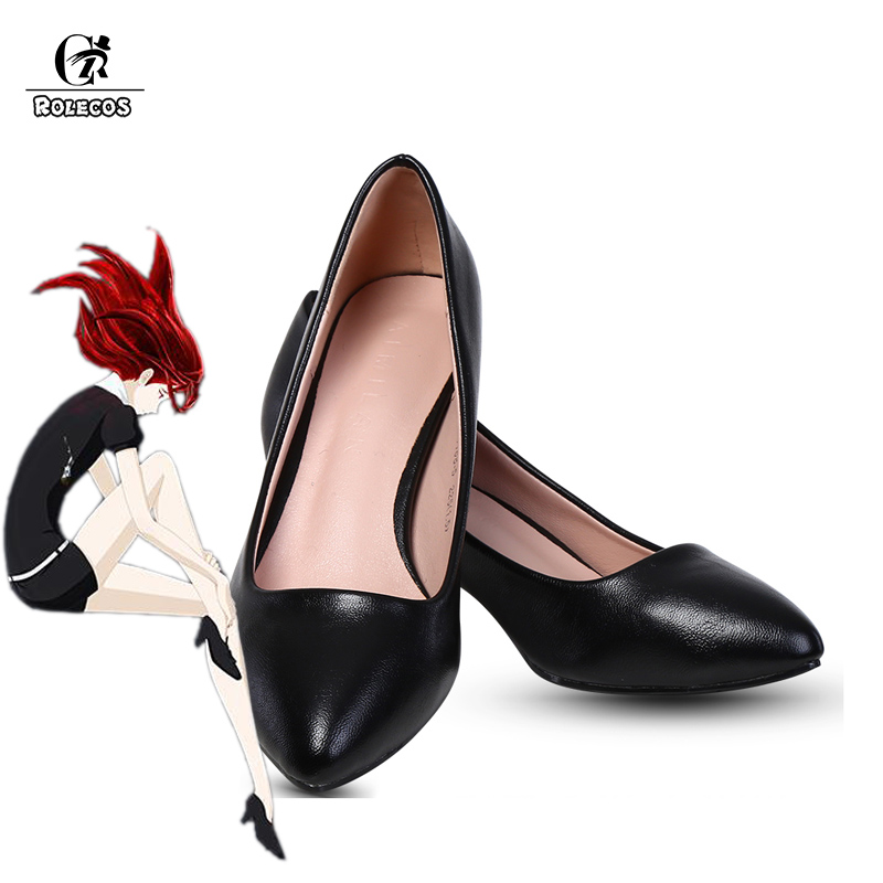 ROLECOS Land of the Lustrous Cosplay Shoes Phosphophyllite Cinnabar Diamond Bort Morganite Black Shoes Cosplay Shoes