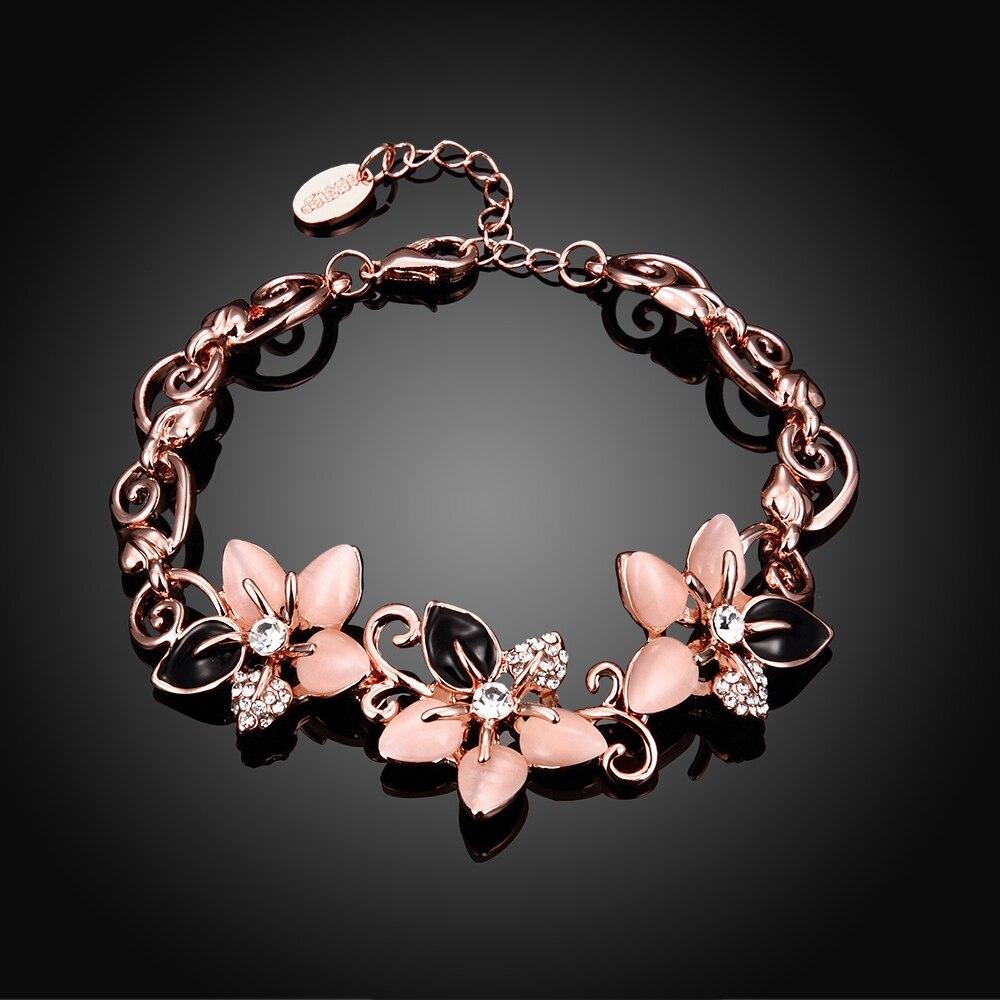 ALULU Mode Blommor Opal Armband Pläterade Guld Bangles Strass - Märkessmycken - Foto 3