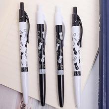 4pcs/lot Kawaii Black and White Cat Cartoon Press Ballpoint Pen For School Writing Office Supplies Best Gift Students