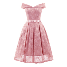 Anself Women Lace Skater Dress Off the Shoulder Bow Pleated A-Line Dress  for Bridesmaid 37b48f0a532c