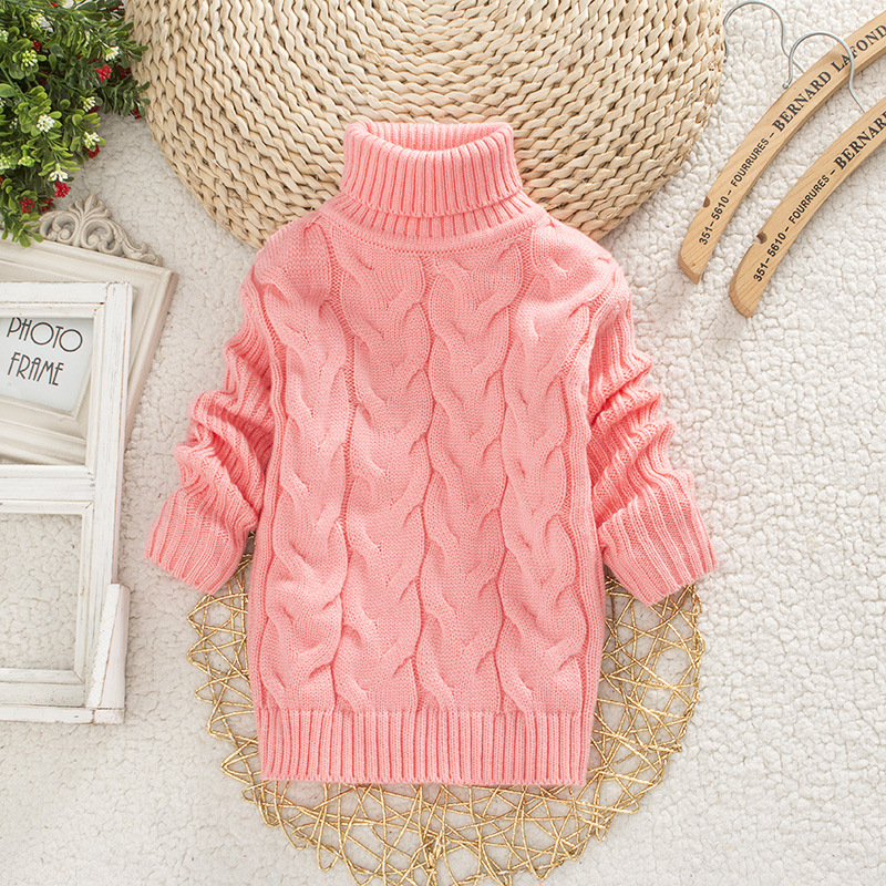 все цены на Autumn Winter Children's Sweater 7 Colors Children Turtleneck Sweater Kids Pure Color Sweater For 3-5 Years