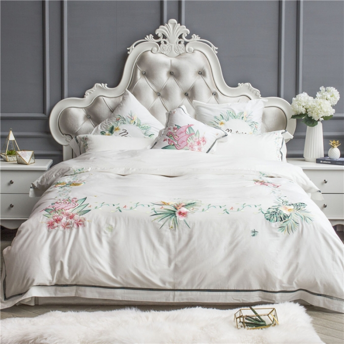 4/7 pièces egypte coton blanc luxe inde style ensemble de literie reine/roi taille broderie fleurs ensemble de lit housse de couette linge de lit oreiller