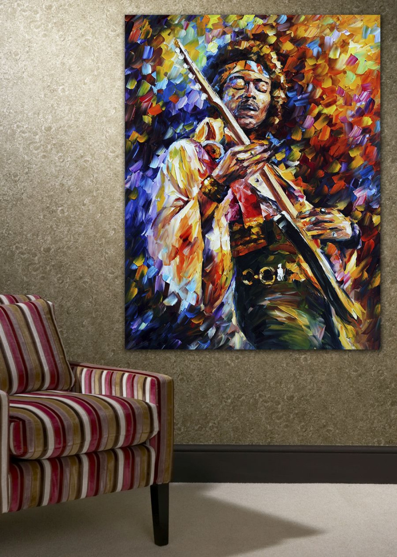 100 Handpainted Palette Knife Painting Jazz Music Guitarist Soul Canvas Wall Picture For Home Office Decor Art In Calligraphy From